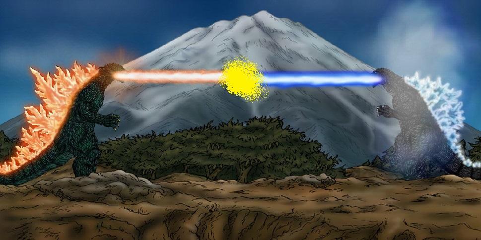 Godzilla 2000 vs GMK Godzilla!! by sonichedgehog2