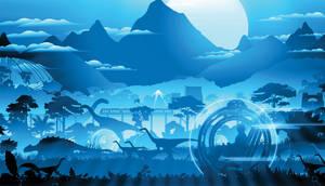 Jurassic World: Dark Background by sonichedgehog2