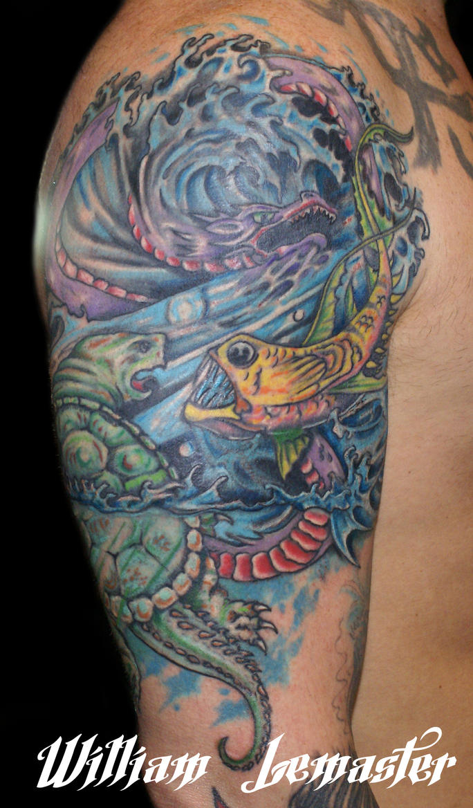 Sleeve rework - Dragon , fish, and turtle - Bill/W by SmilinPirateTattoo