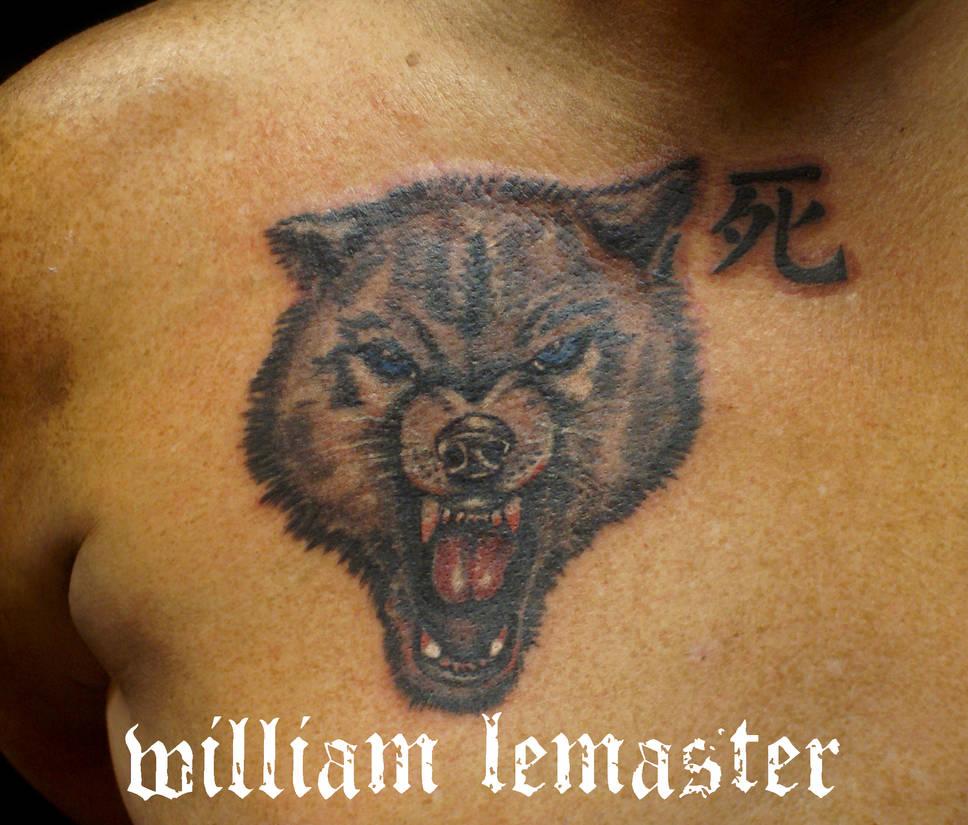 584155222 Wolf and Kanji - Tattoo by Bill by SmilinPirateTattoo on DeviantArt