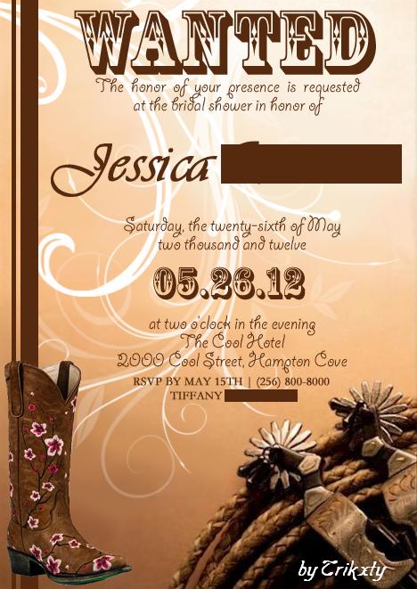 Pretty Cowgirl Bridal Invitation Option 2 by Trikxty on DeviantArt