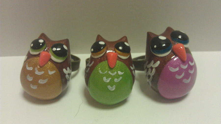 new owl rings by ColleensCritters