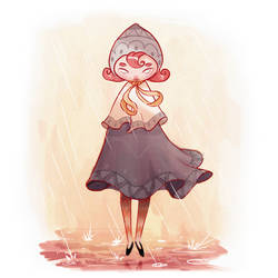 Girl in rain by McIdea