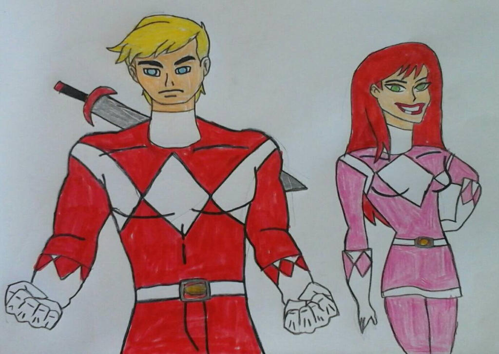 The Red and Pink Ranger by JQroxks21