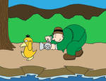 Wimpy Chasing Psyduck by streetgals9000