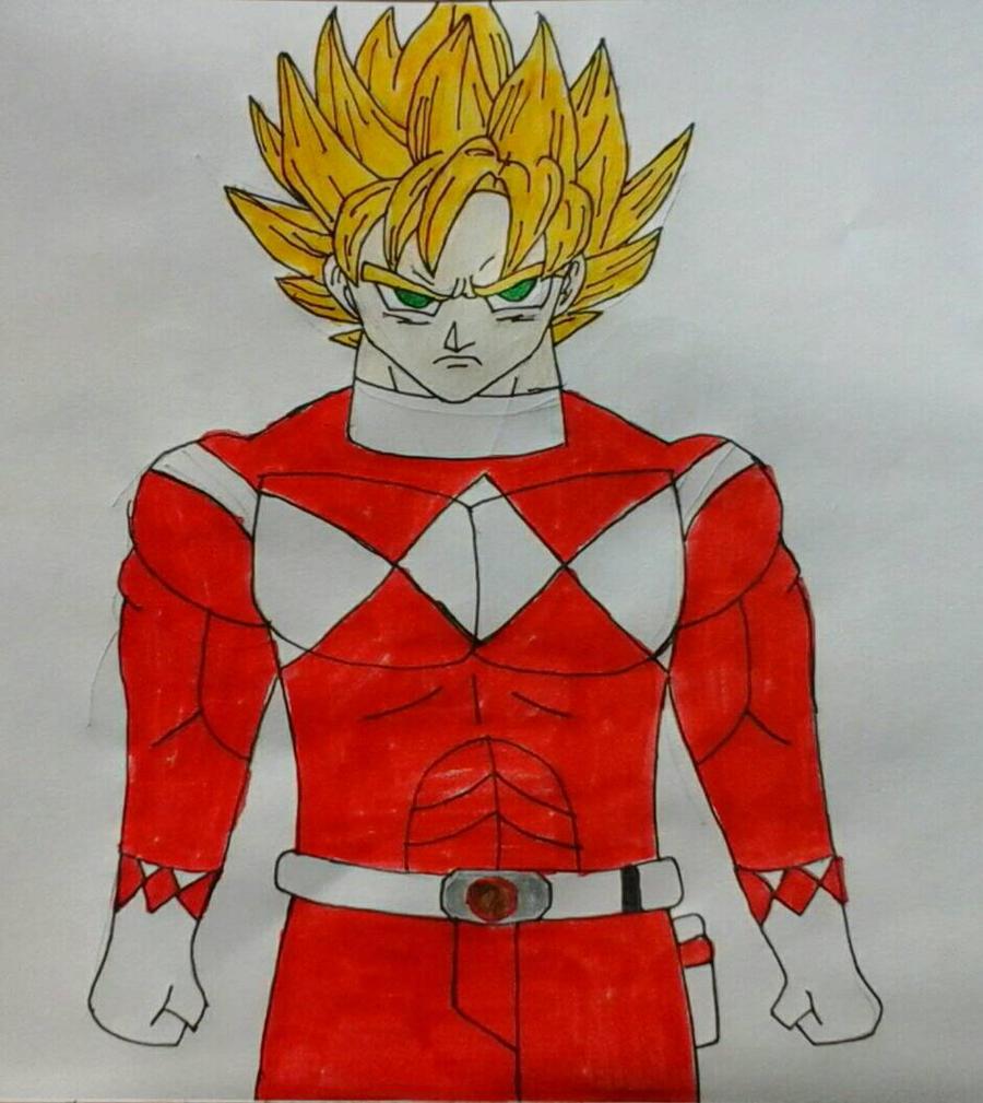 Super Sayian Goku Red Ranger by JQroxks21