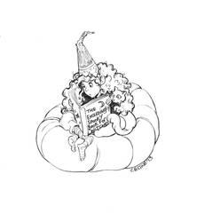 Halloween Reading B+W by tinycoward