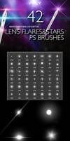 42 Lens Flares And Stars Photoshop Brushes