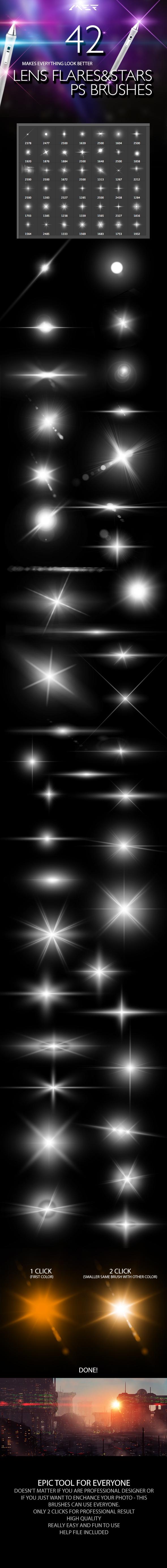 42 Lens Flares And Stars Photoshop Brushes