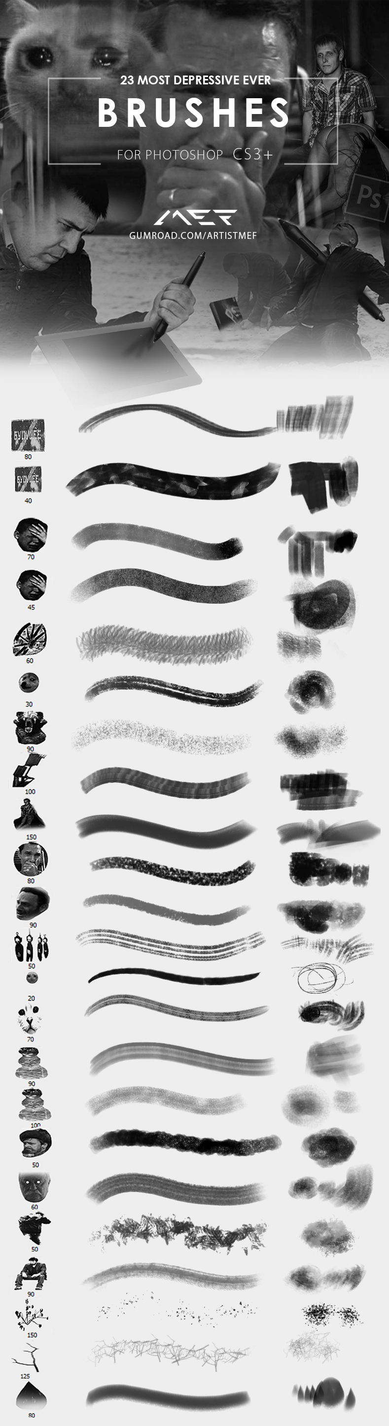 Most Depressive Photoshop Brushes Ever V.1.0. by ArtistMEF