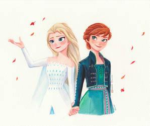 Elsa and Anna, Wateroclor, Frozen Fanart
