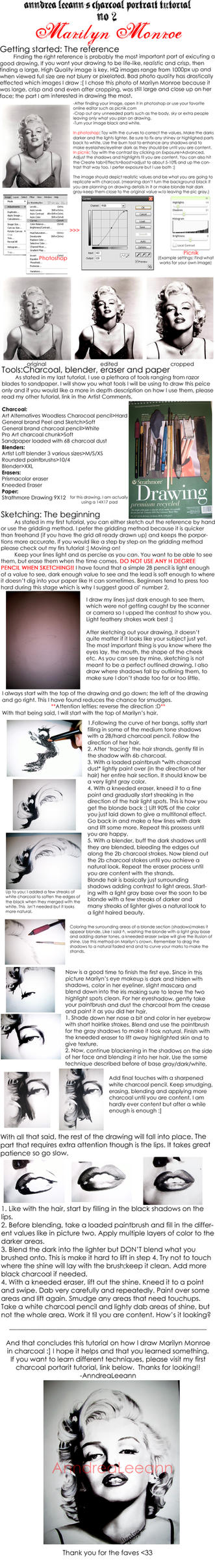 Charcoal tutorial: Marilyn by AnndreaLeeann