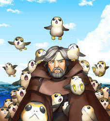 Porg and Luke Skywalker by kandagawagufu