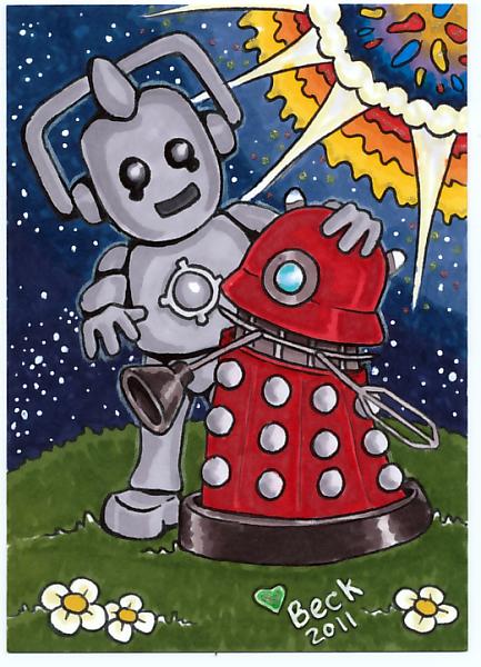 Cyberman and Dalek BFF by beckadoodles