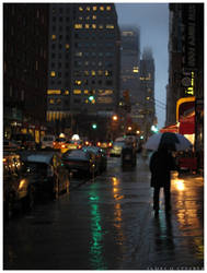 Lower Broadway Amid Rain