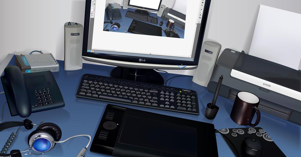 My desk in vector. by LeonardoGouveia