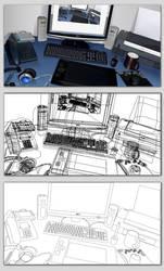 My desk in vector