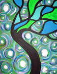 Green Stained Glass Tree