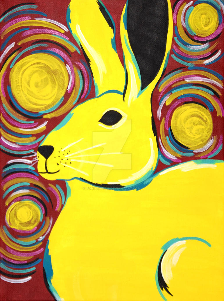 Yellow Rabbit Painting by ToniTiger415