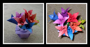 Origami Flowers by Humble-Novice