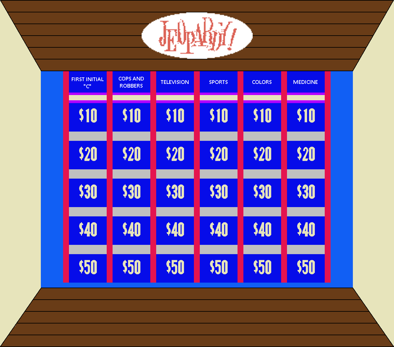 Original Jeopardy! Board Round 1 by mrentertainment