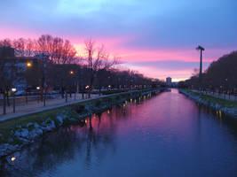 River sunset Madrid