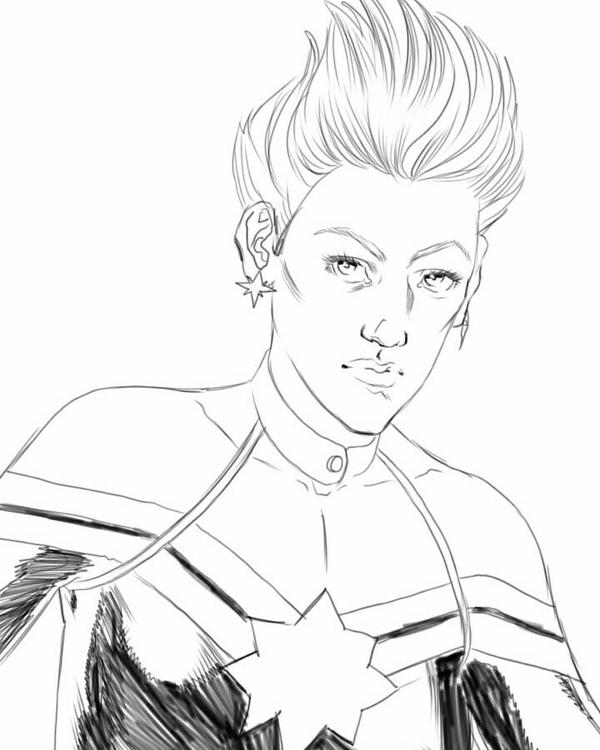 Captain Marvel digital pencil sketch. by JulianoSousa