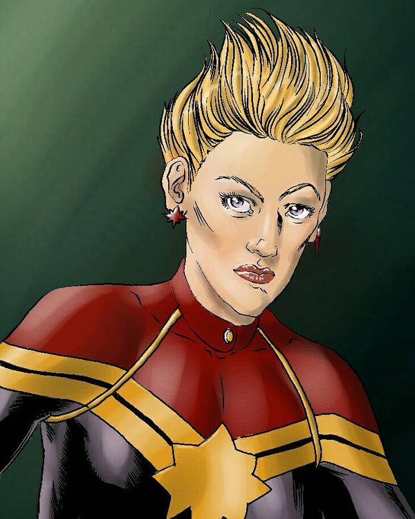 Captain Marvel color inked sketch  by JulianoSousa
