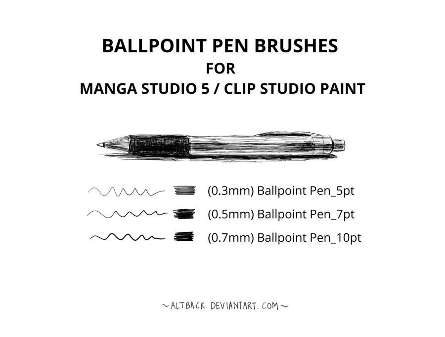 Ballpoint Pen Brushes (Manga Studio 5/CSP)