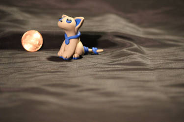 FOR SALE!!! - Tan and Blue Kitty Sculpture $15 by Jadie-Lee