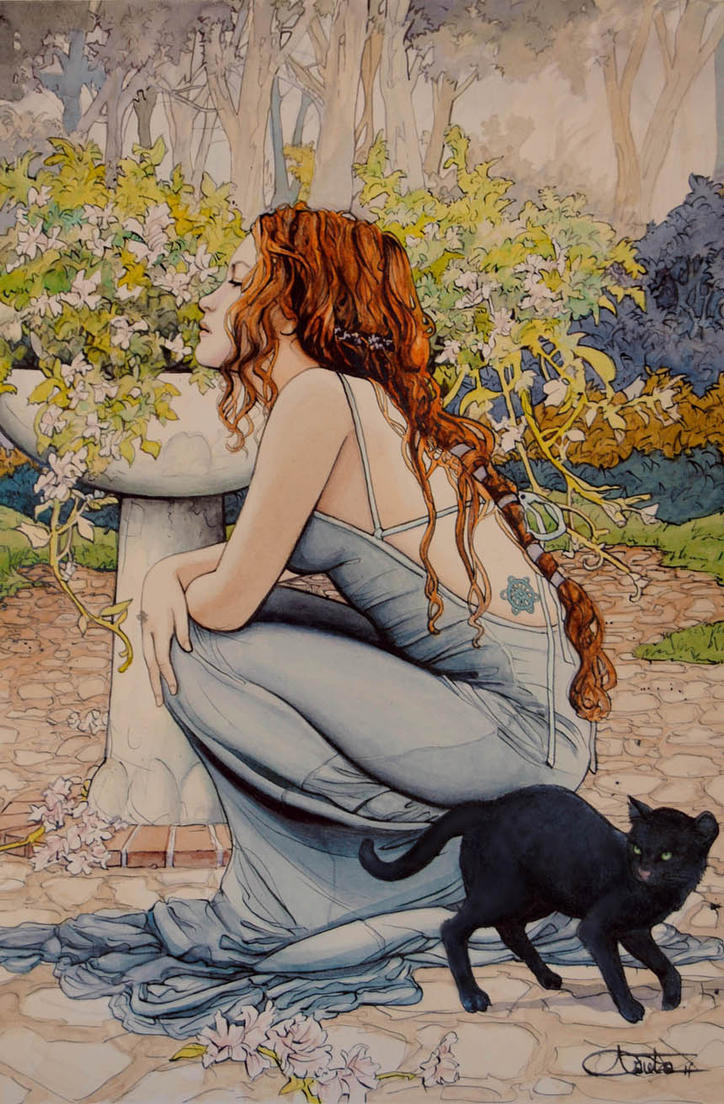 Chica y gato by arantzasestayo