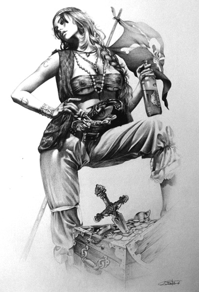 Pirate girl pin up drawing - photo#25