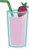 Strawberry and Banana Smoothie With A Green Straw