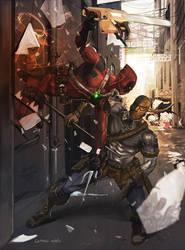 Deadpool vs Deathstroke by Aracubus