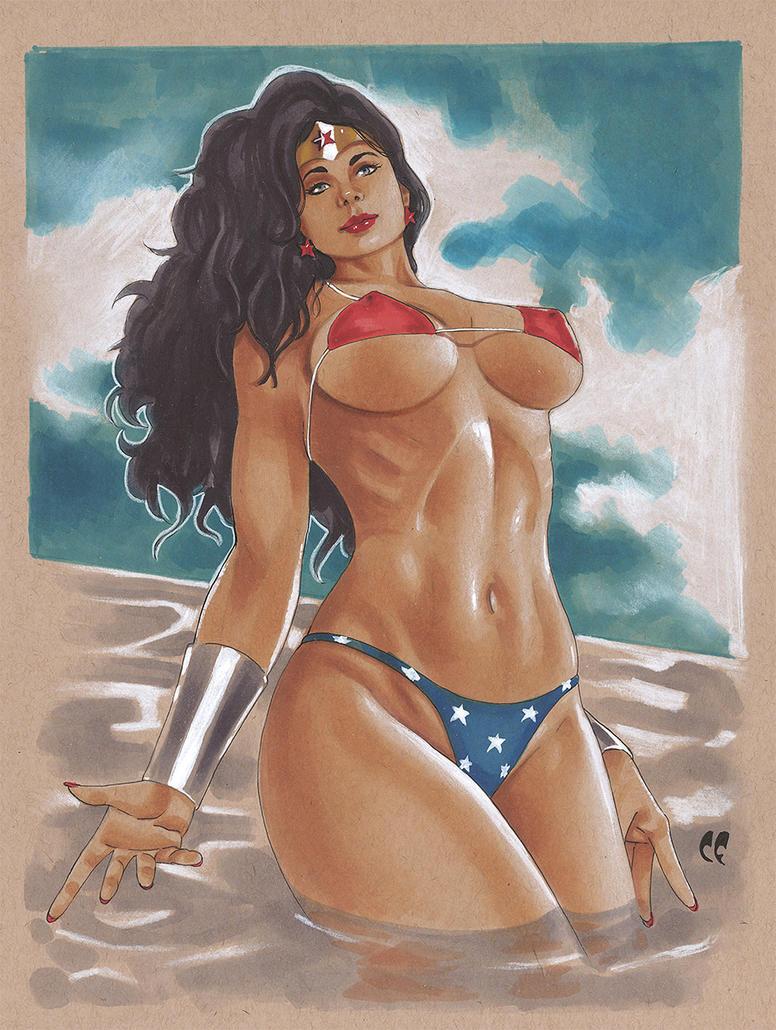 Wonder Woman Bikini by daikkenaurora