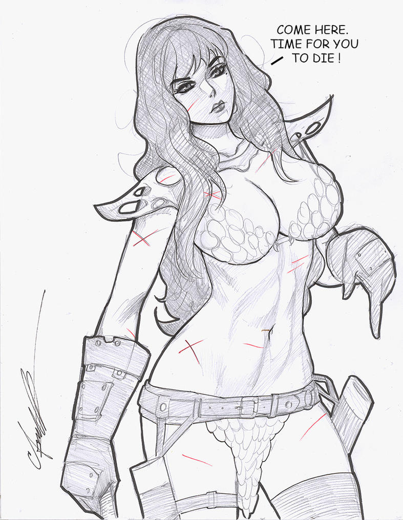 Red Sonja Sketch by daikkenaurora