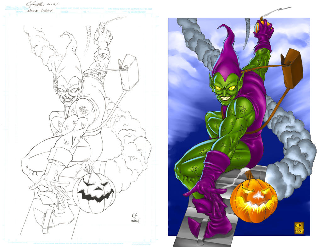 Green Goblin Pencils And Color By Daikkenaurora On Deviantart Green Goblin Coloring Pages
