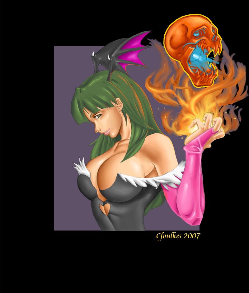 Morrigan Aensland_Fire Skull_ by daikkenaurora