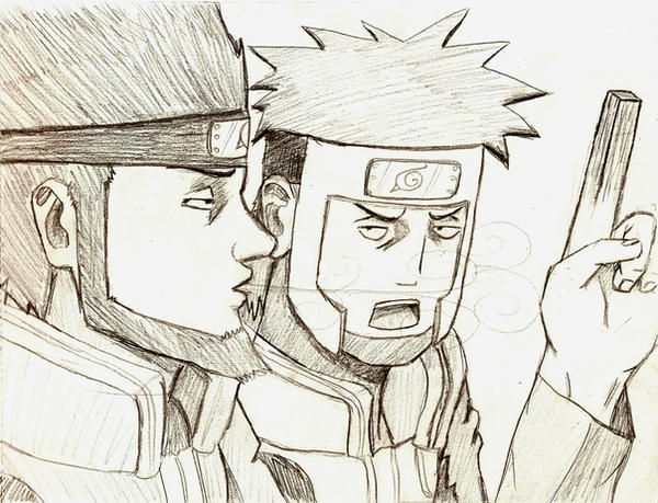 Asuma and Drunk Yamato by coffeelover