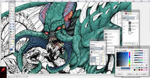 Godzilla X Cthulhu ( color preview) by Gabe-TKE