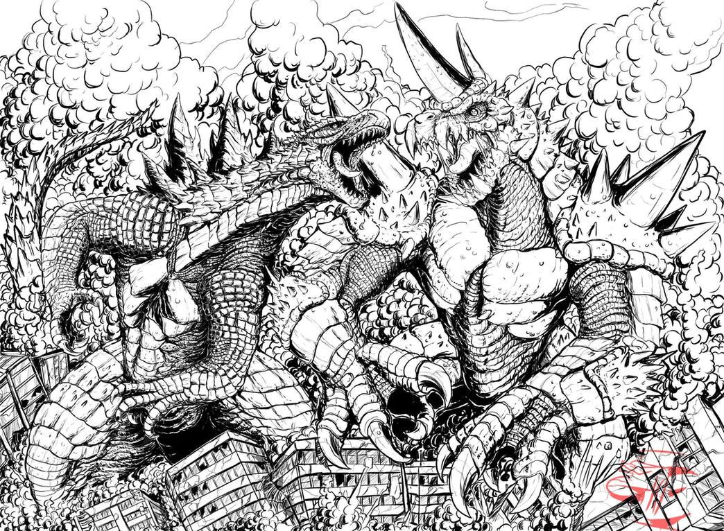 Godzilla v Rockmutal ( lines) by Gabe-TKE
