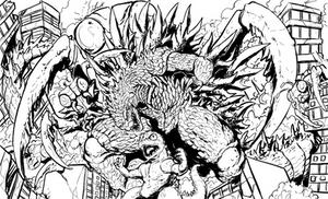 Godzilla X Kamacuras (lines) by Gabe-TKE