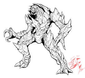 Commission: Nightmare Beast (lines) by Gabe-TKE