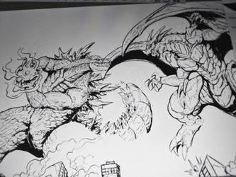 Godzilla vs Igneel ( progression) by Gabe-TKE