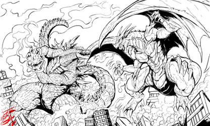 Commission: Godzilla vs Igneel (lines) by Gabe-TKE