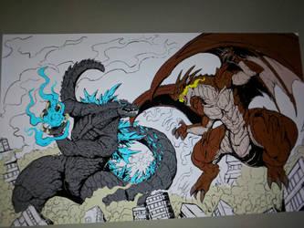Godzilla vs Igneel ( color update) by Gabe-TKE