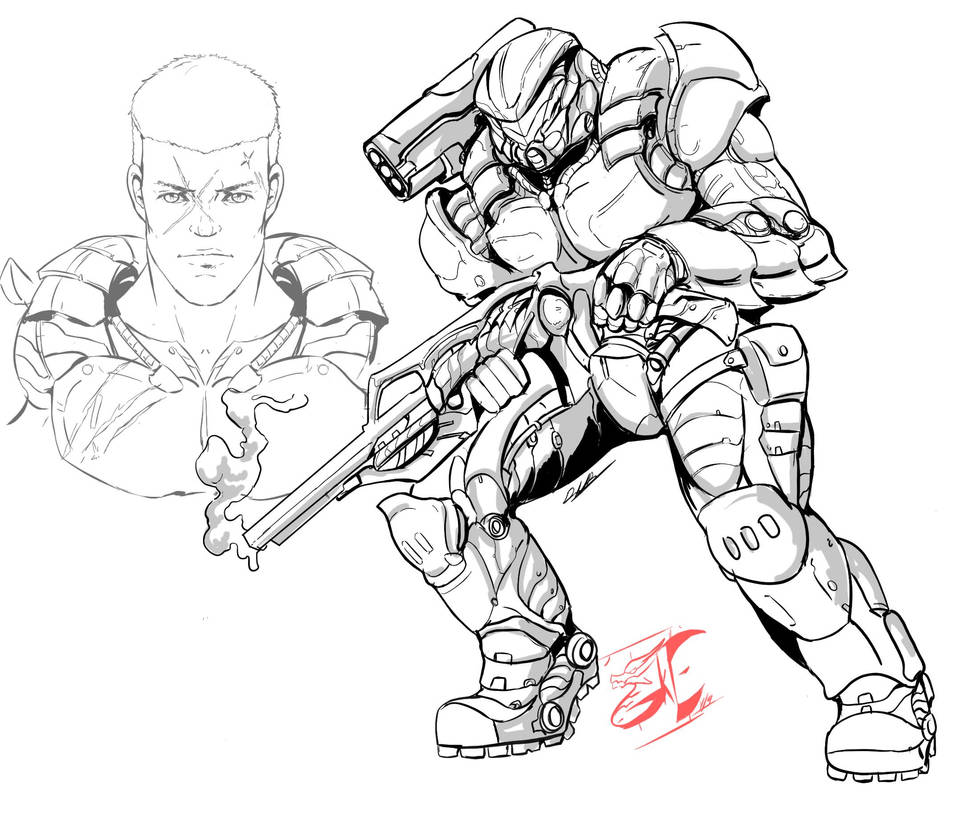 Commission: Battle Armor ( lines) by Gabe-TKE