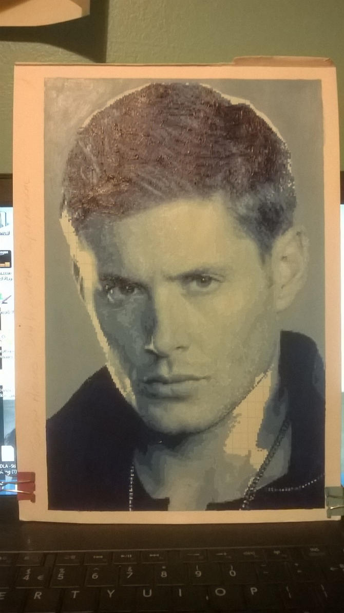 Jensen Ackles pixel painting WIP by leb82