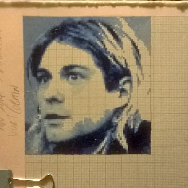 Kurt Cobain pixel painting WIP by leb82