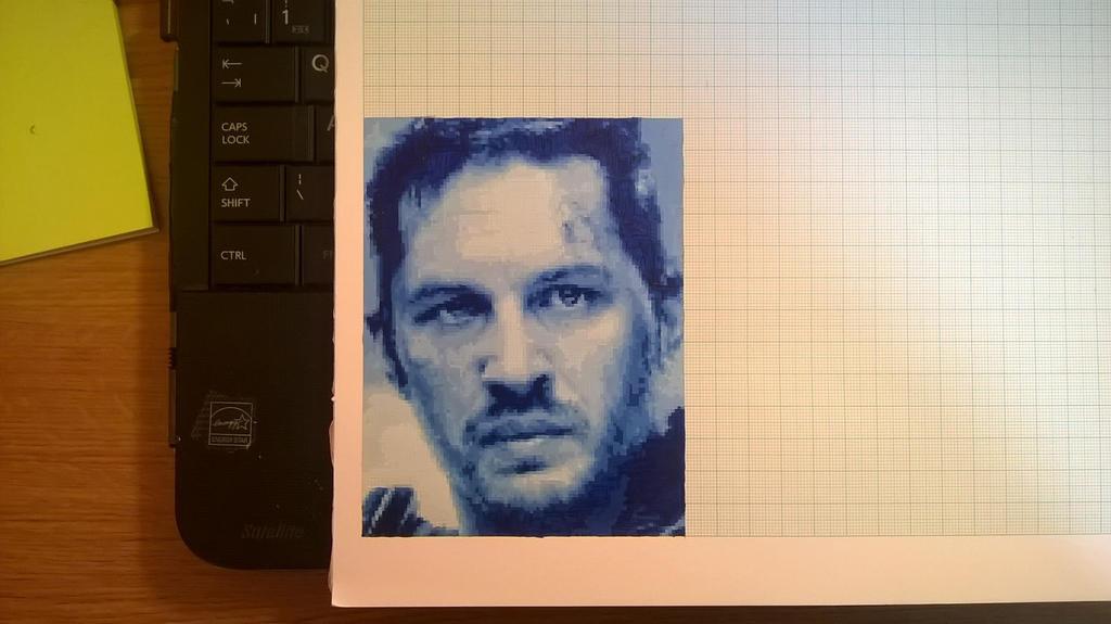 Tom Hardy mini pixel painting by leb82